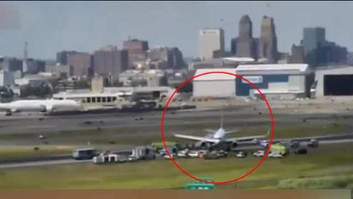 美国一飞机爆胎滑出跑道,无人受伤