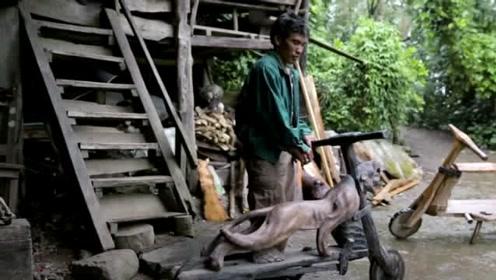 菲律宾木制摩托车,不用油不用电也没有踏板,速度可达50KM