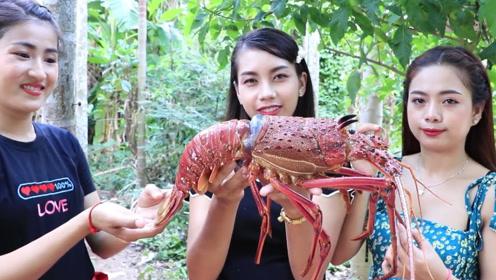 澳洲大龙虾,看农村人是怎么吃的,看着就有胃口