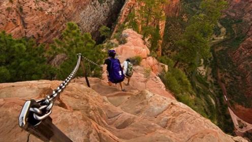 美国最恐怖的徒步路径,两侧深渊仅一条铁链,与华山栈道有一拼