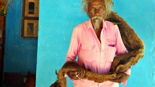 印度男子40年不理发不洗头,1.8米长脏辫好像风干牛肉干