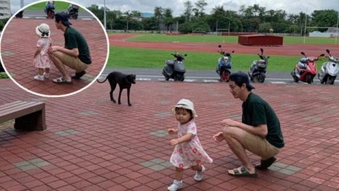 江宏杰带女儿出游遇大狗 小小爱扭头就跑呆萌可爱
