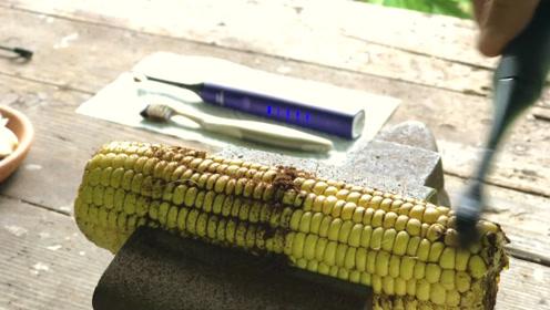 电动牙刷和普通牙刷有什么区别?老外用玉米做测试,看完才知道