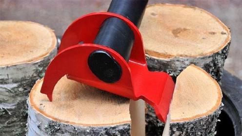 老外发明世上最不正经的斧头,劈木头就像变魔术,妹纸们也能用!