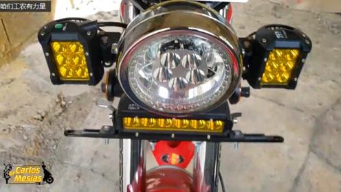 实拍一台印度自主生产的代步摩托车:仪表炫酷,大灯实用,双碟刹