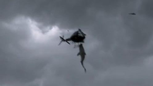 会飞的鲨鱼袭击直升机,女子掉到鱼嘴里,万米高空摔下竟然没死