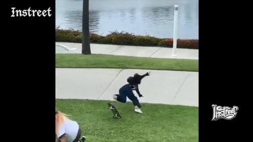 千万别以为在草地上滑板是个安全的想法,其实更危险