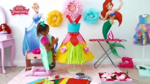 萌娃小可爱用纸做裙子,色彩协调好漂亮呀,手可真巧呀!