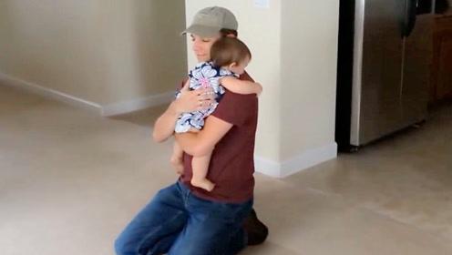 打工5年的老爸突然出现在家里,宝宝瞬间懵了,这画面妈妈暖哭了