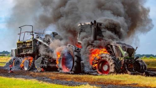 黑烟冲天!超大收割机田地燃起熊熊大火,农场主亏大啦