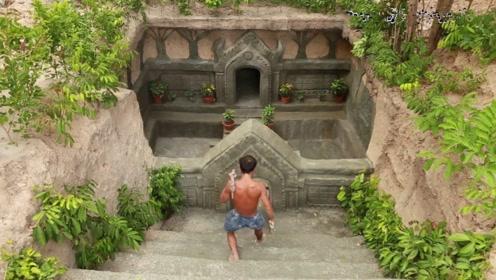牛人在地下掏出神秘城堡,走近入口的瞬间,惊艳只是刚开始!