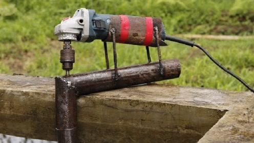 牛人用角磨机DIY水泵,成品出来后,抽水快而且还省电
