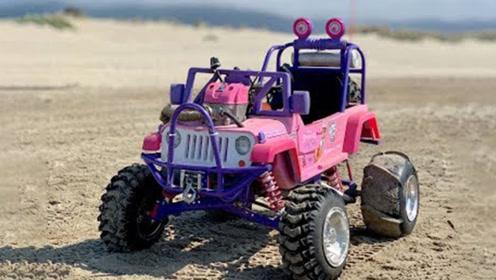 外国牛人爆改玩具车,沙滩上疯狂越野,一头撞沙丘悲剧了