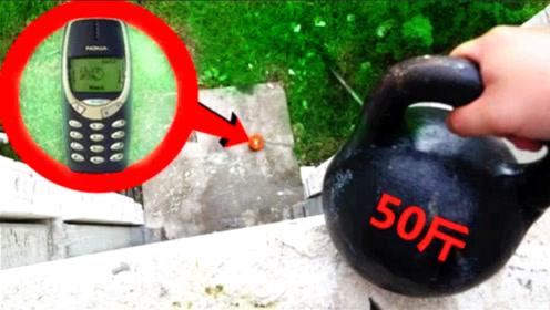 曾经王者诺基亚有多坚硬?老外将50斤壶铃扔下去,结果会怎样
