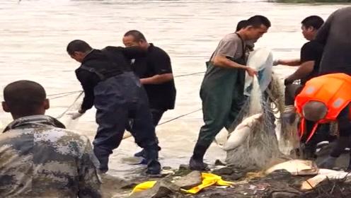 台风过后村里发洪水了,村长带着村民组团去捕鱼,收获不少啊!