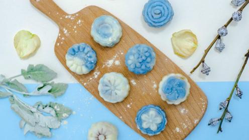 清新软糯高颜值,不用烤箱就能做的青花瓷冰皮月饼!