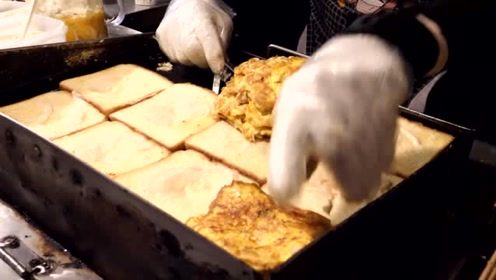 韩国街头的鸡蛋吐司,店员现场烹饪制作,黄油刷锅真有食欲!