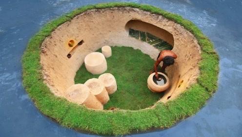 买不起房,农村牛人在水中建造双层别墅,卧室客厅应有尽有!
