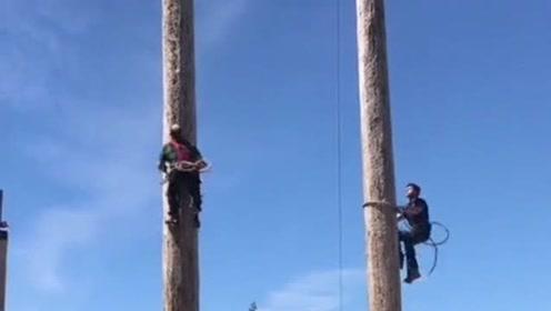 高手在民间,牛人师傅徒手攀爬电线杆,居然比猴子还快!