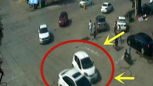 """车头对车头,小轿车被大货车顶行很""""受伤"""",太意外了!"""