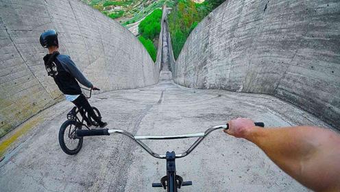 男子骑自行车挑战速降,连续1000米下坡,速度堪比跑车