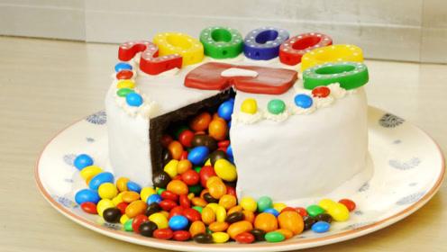 蛋糕还能这样吃?一刀下去,巧克力豆直流!