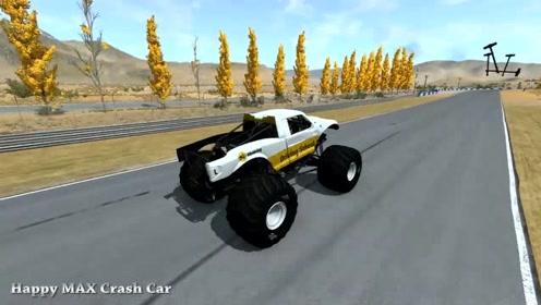 汽车驾驶游戏:汽车毁灭与怪物卡车和警车