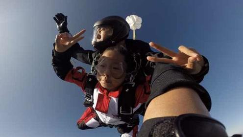 父亲曾是空军,10岁女孩跳伞表情超淡定:看陆地就像乐高玩具