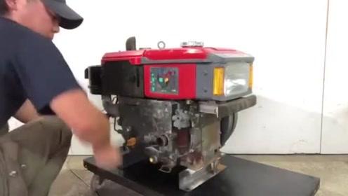 启动一台日本产的柴油发动机,这声音好像不太给力