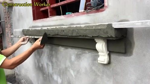 600一天请来的泥瓦工,给窗户下面做一个造型,看这手艺太值了