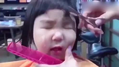 理发之前就哭了,这回哭的更伤心了!