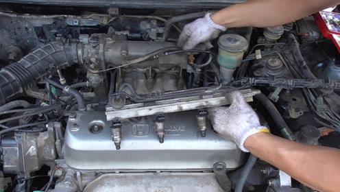 老款雅阁故障车检查出喷油有问题,更换喷油嘴总成,结果会怎样呢