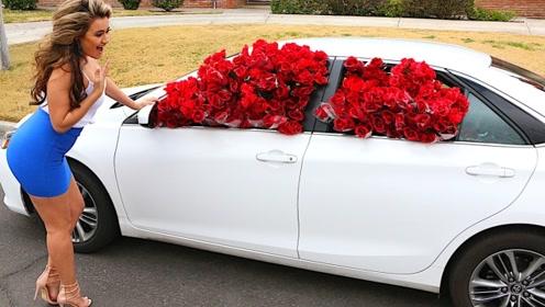 甜蜜暴击!老外在女友车里塞1000朵玫瑰,网友:别人家的男友