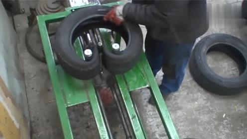 老外自制工具,轻松把小轮胎装入大轮胎中,省时省力!