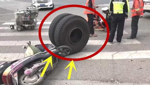 大货车轮胎脱落,不幸路边工人中招,当场失去生命!