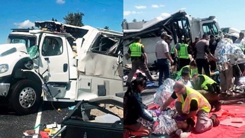 载中国旅游团巴士在美国发生车祸!至少4人死亡 事故现场曝光