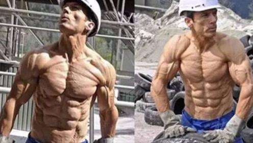 """工地健身狂魔,被人们称为行走的""""肌肉干尸"""",体脂低到难以置信"""