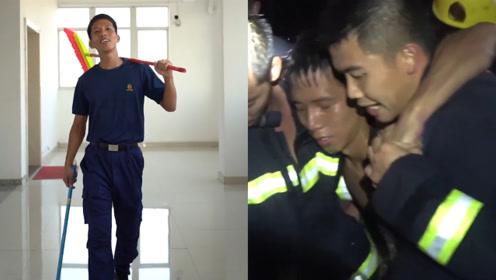 网红消防员火场救5人累晕,千万网友爆赞,搞怪段子被扒笑喷网友