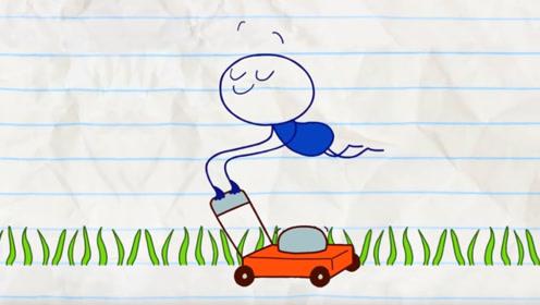 小男孩使用除草机,清理地上的杂草,有一根草却怎么也除不掉!