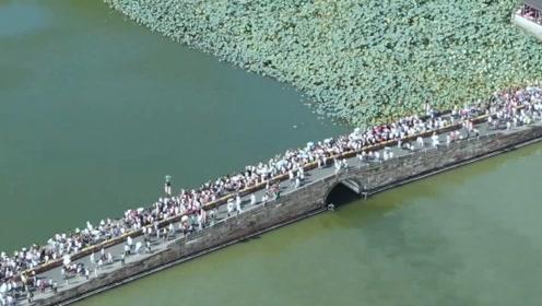 航拍看杭州西湖人从众 客流高峰明后天到来