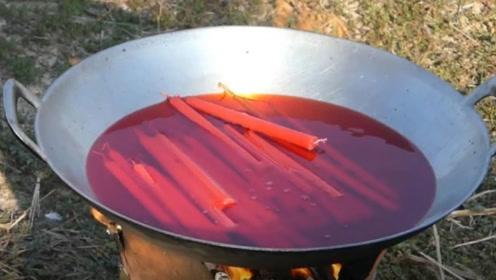 把鱼放进融化的蜡油中,冷却后成品是啥样?满满的好奇心