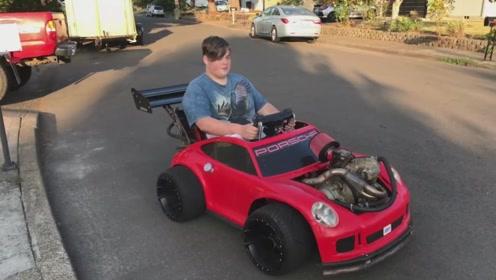 老外改造保时捷小汽车,豪华的单驾驶座位呢,网友:不说真没认出来