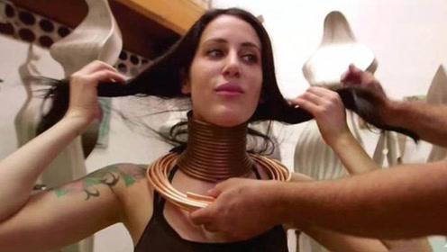 女子为拉长脖子,佩戴金属环5年,取下后众人惊呆