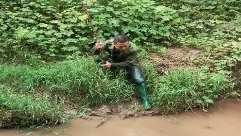 小伙发现河里有鱼,赶紧就地取材找个跟竹子打鱼,太有头脑了!