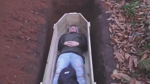 外国小哥以身犯险,挑战被活埋12小时,差点酿成大祸