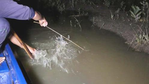 钓竿下挂着大货,村民用抄网一捞,结果它却翻腾起来,这样捕鱼真过瘾