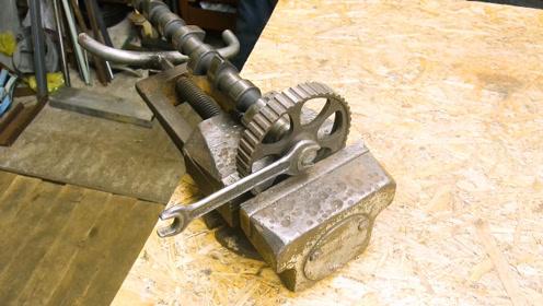 废旧凸轮轴、皮带轮还能这么用,拿来制成置物架,简单又好用