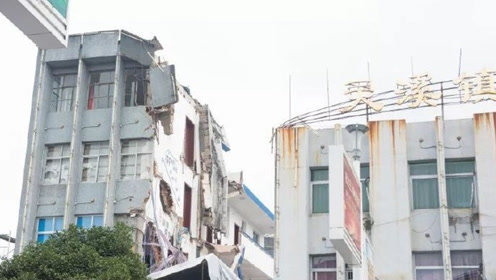 惊魂!浙江温州一办公楼走廊坍塌,高空还悬挂着大片钢筋水泥