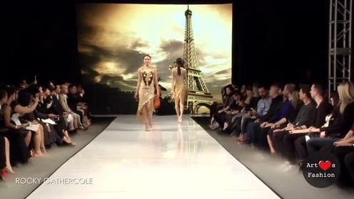 裸色连体衣上点缀金色,璀璨夺目,也太美了!