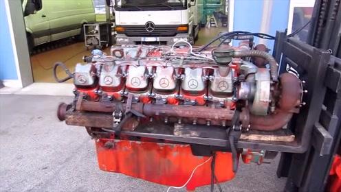 启动1910年的12缸老式发动机,这怠速声特好听